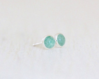 Aventurine Stud Earrings - Tiny Drop of Color Posts with 4mm Stones Set in Silver - MADE to ORDER