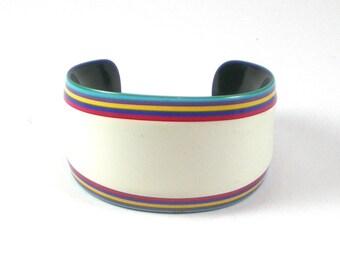 Vintage 1970s Lea Stein Modernist Plastic Rainbow Bracelet Bangle - Vintage Jewelry - Designer Bracelet