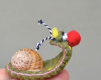 Needlefelted Embroidered Snail Ready to Ship