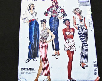 McCalls Pattern, Crop Top Shirt, Bra Top, Maxi Skirt, Shorts, High Waisted Pants, Sewing Pattern, Misses size 12, UNCUT