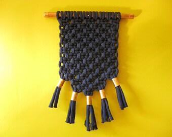 Macrame Wall Hanging Decor . Dark Blue Copper & Fiber . Modern Textile Wall Art . by raïz
