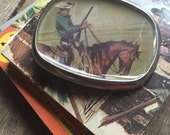 belt buckle vintage cowboy riding his horse pulp fiction repurposed book cover guy gift eco friendly unisex