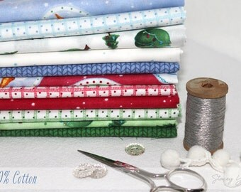 Snow Much Fun Fabric  Individual Fat Quarter in flannel or cotton