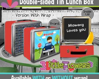Personalized Driver Lunchbox - Personalized Metal Lunch Box Chalkboard inside - Double-sided Tin Lunch Box - Boy on the Go Lunch Box