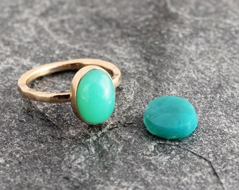 gem silica chrysocolla ring w/ sterling silver or 14k gold, chalcedony, rare, inspiration mine, choose your metal, custom size, to order