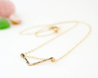 Handmade Flat Chevron Triangle Necklace - 14K Gold Filled