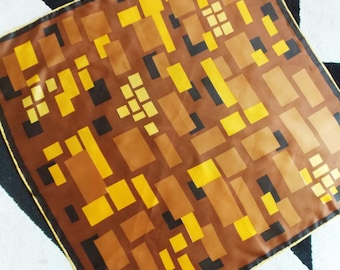 European 1960s brown yellow Op Art abstract Scarf/ 1970s geometric scarf/ Modernist scarf