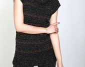 Hand knit crochet sweater crew neck sleeveless pullover sweater black brown stripes