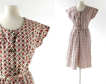 Vintage 60s Dress / Desert Lily / Floral Print Dress / 1960s Dress / Medium M