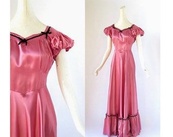 1940s Satin Gown | Pink Satin Dress | 40s Dress | Small S