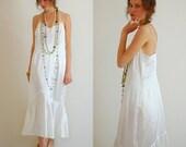 Summer Slip Dress Vintage 70s Does 20s Summer White Draped Dropwaist Maxi Slip Dress (s m)