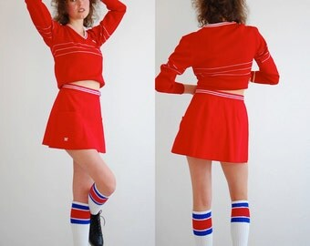 Wrap Tennis Skirt Vintage Red and White Preppy Pleated Tennis Wrap Mini Skirt (s)