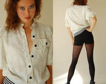 Vintage 80s Cream Plaid Draped Blouson Slouchy Blouse (s m)