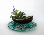 Row Boat Trinket Dish Miniature Collectible Crackle Glaze Ceramic Ring Holder Pottery New Blue Green Spiral Dish Air Plant Planter