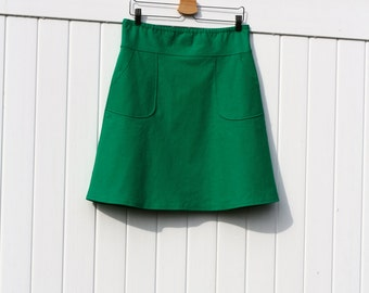 Cotton Linen Blend A-Line Skirt with Pockets, Modern, Yarn Dyed, More Colors Availible, Custom Made, You choose Fitted, Comfy, Loose