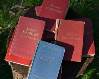 Collection of 7 Baedekers Travel Books & 1 Blue Guides Travel Book