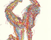 Yoga Art -- Original color drawing on paper // Reach and Stretch