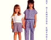 245 Butterick 6185 Girls Pullover Tops Pull-on Pants & Shorts Childs sizes 2 3 4 Very Easy Vintage 80's Sewing Pattern Uncut