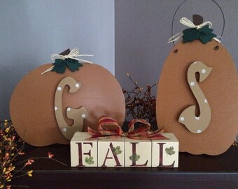 Pumpkins with Initials & Fall blocks