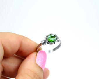 Swarovski Crystal ring, Green Crystal, Stainless Steel Ring, Green Ring, Wire Wrapped Ring, August Birthstone, Peridot Stone Ring, Size 4-14