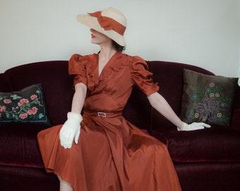 Vintage 1930s Dress - Stunning Brick Orange Slippery Acetate 30s Dress with Zig Zag Edges, High Impact Puffed Sleeves and Rhinestone Belt
