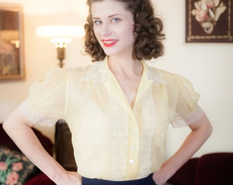 Vintage 1950s Blouse - Darling Sheer Yellow Nylon 50s Top with Lace Trim and Puffed Sleeves