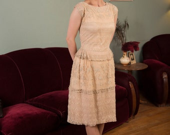 Vintage 1920s Dress - Beautiful 1920s Net and Tambour Lace Gown Altered in the 1930s