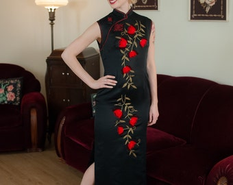 Vintage 1960s Dress - Jet Black Cheongsam 60s Hostess Gown with Gold Beading and Velvet Rose Appliques