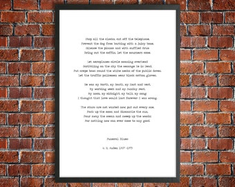 W H Auden Four Weddings Poem Stop All The Clocks Instant Download Printable Poetry Hand