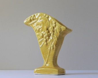 McCoy Pottery Fan Vase, Yellow McCoy Pottery Vase, Grape Leaf Pattern Vase, Cottage Chic Style