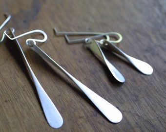 Brushed Silver Dangling Propeller Earrings - Handmade Sterling Silver Earrings - Organic, Minimal Design