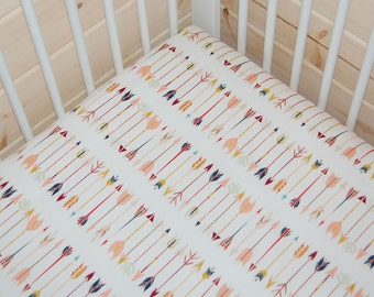 arrow fitted crib sheet- arrow crib bedding / pink and mint mini crib sheet/ arrow contoured changing pad cover/ baby bedding