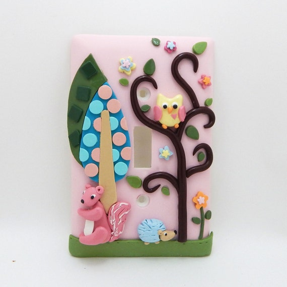 Owl, Hedgehog, Squirrel, Woodland Light Switch or Outlet Cover - Woodland Nursery - Forest Nursery - Pink - Clay - Toggle or Rocker Cover