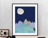 Mountains at Night Print, Digital Download, Printable Art, Instant Download, Moon Print, Stars, Poster, DIY,  Wall Decor, Bedroom Art