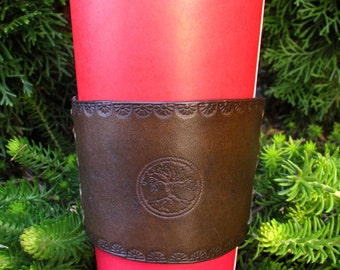 Personalized LEATHER Coffee Sleeve, Leather Cup Cozie, Coffee Cozie, Leather sleeve, to go coffee sleeve, OOAK