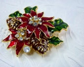 Poinsettia Flower Brooch Red Enamel Christmas Holiday Vintage Costume Jewelry