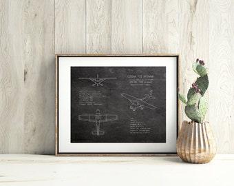 Cessna 172 airplane blueprint, blueprint art, aviation decor, prop plane blueprint, pilot gift, boys room decor, nursery art, husband gift