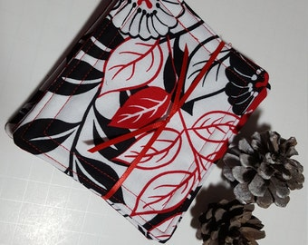 Fabric Coaster Set - Reversible - Black and White and Red allover, cotton, large size