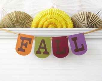 Fall Banner - 7.25 inches tall - Fall Home Decoration Thanksgiving Banner Large Fall Sign Autumn Banner Colorful Fall Party Banner Decor