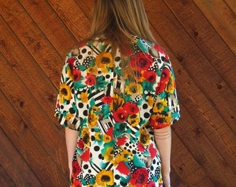 Red and Yellow Floral Silk Blouse Shirt - Vintage 80s - MEDIUM