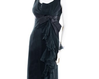 Black Dress Silk Bow Ruffle Gown Vintage 1950s Crepe Party Dress Ruffle Holiday 30s Style Grecian Gown Size Medium