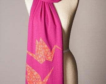 paper crane scarf, hot pink scarf, magenta scarf, raspberry scarf, fuchsia scarf