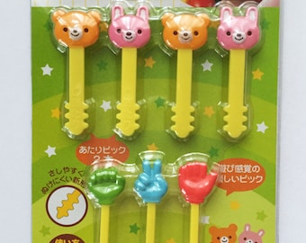 Cute Japanese Rock Paper Scissors Hands (Janken), Bear & Bunny Rabbit Bento Picks / Cake Toppers
