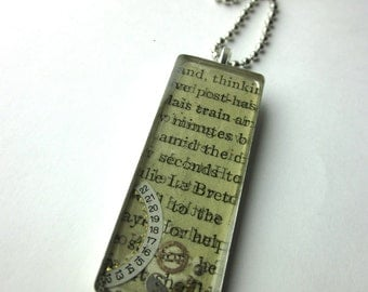 Book page resin bezel necklace, amid seconds, steampunk watch parts