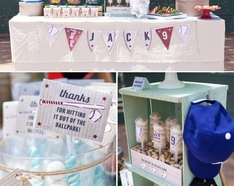 Vintage Baseball Birthday PRINTABLE Party Collection - You Customize EDITABLE TEXT >> Instant Download | Paper and Cake