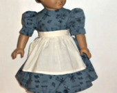 18 Inch Doll Dress, Blue Country, Apron, American Made, Girl Doll Clothes, Sale Priced, Party, 15 Inch Doll
