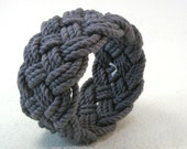dark charcoal cotton braided rope bracelet turks head knot armband sailor bracelet 3809