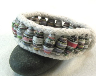 paper bead cuff bracelet one button cuff handmade bead cuff beaded bracelet 3697 3868
