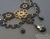 Beaded Lace Adventure Necklace Black Baroque and Gold