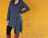 Flow Cowl Long Sleeve Bamboo Tunic Top - Blue